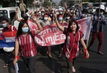 Photo of Fire at Myanmar Saturday protest