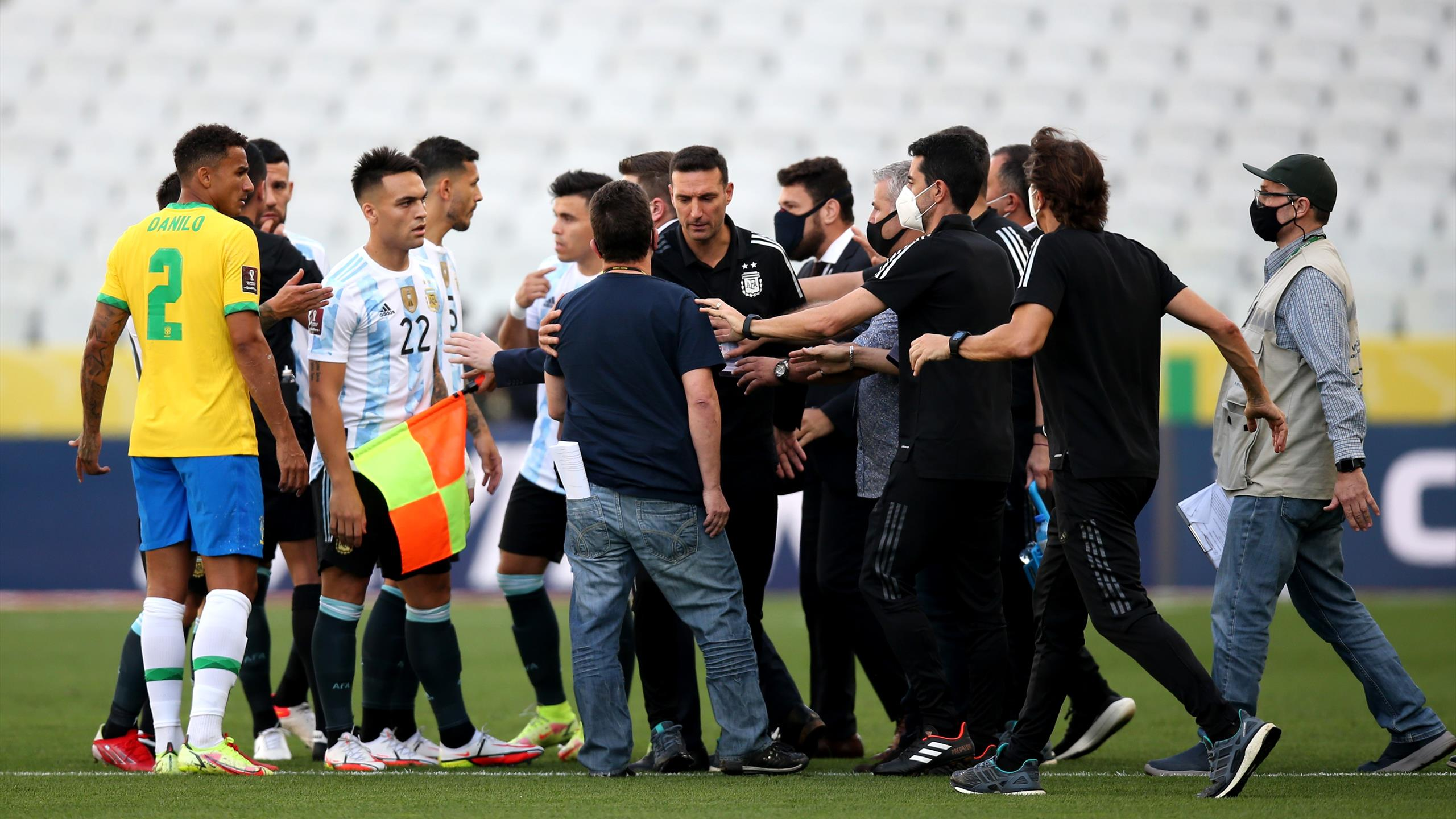 Brazil vs Argentina: World Cup Qualifier suspended after health officials enter pitch in row over Covid rules