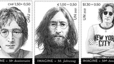Photo of John Lennon Honored On United Nations Stamps