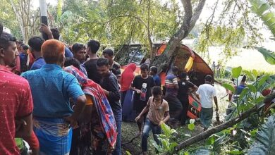Photo of Four die, 30 injured as bus falls into ditch in Magura