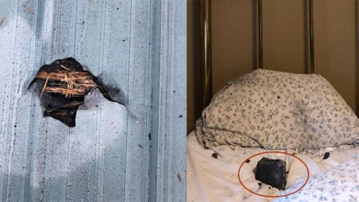 A meteorite smashed through the roof and landed on woman's pillow